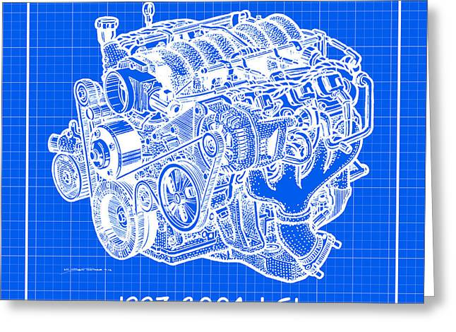 1997 - 2004 Ls1 Corvette Engine Reverse Blueprint Greeting Card