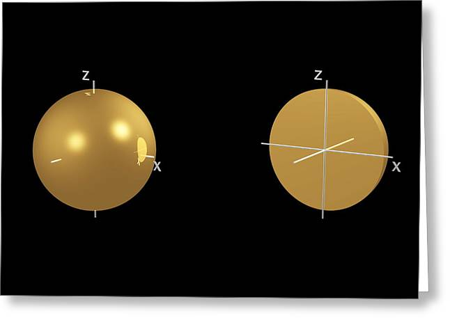 1s Electron Orbital Greeting Card by Dr Mark J. Winter