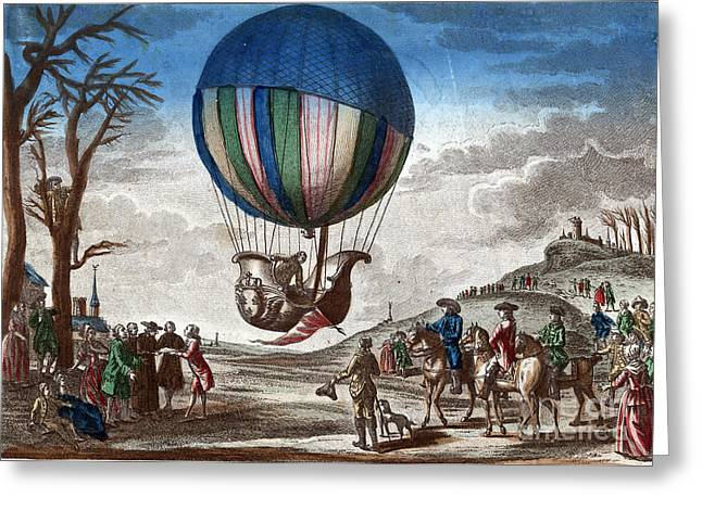 1st Manned Hydrogen Balloon Flight, 1783 Greeting Card by Photo Researchers