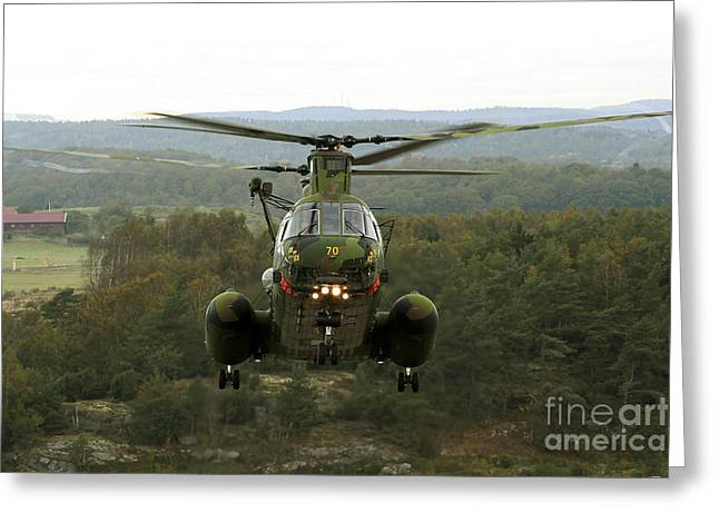 A Ch-46 Sea Knight Helicopter Greeting Card by Daniel Karlsson