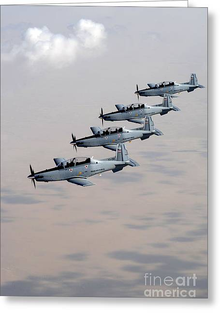 A Formation Of Iraqi Air Force T-6 Greeting Card by Stocktrek Images