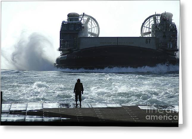 A Landing Craft Air Cushion Prepares Greeting Card by Stocktrek Images