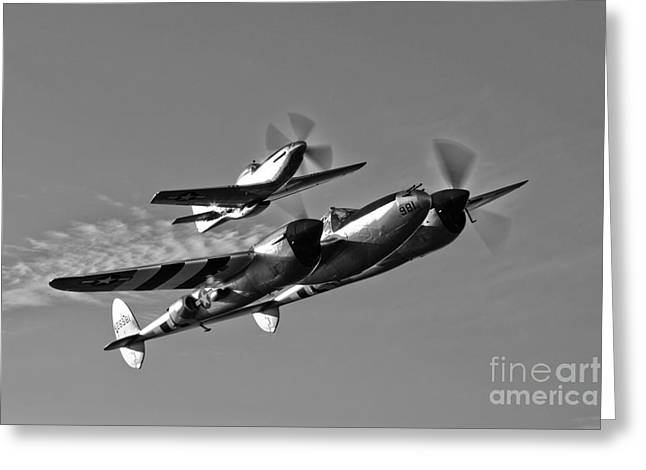 A P-38 Lightning And P-51d Mustang Greeting Card by Scott Germain