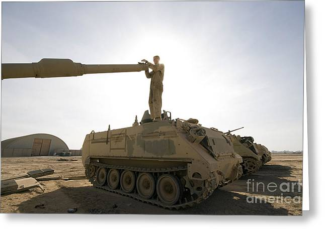 A Us Army Mechanic Uses A M113 Greeting Card by Terry Moore
