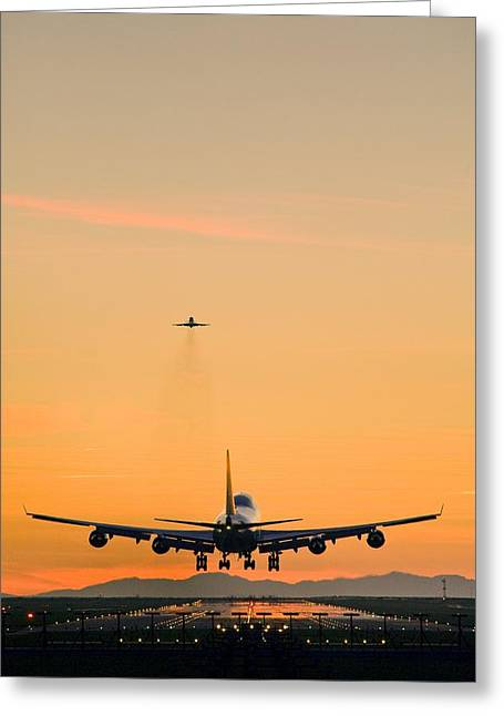 Aeroplane Landing, Canada Greeting Card by David Nunuk