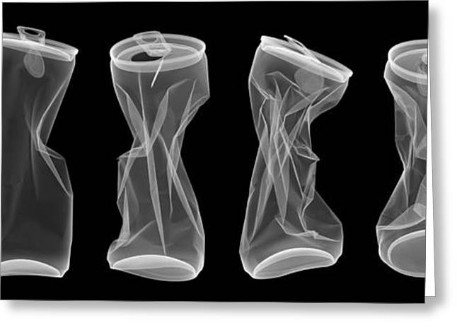 Aluminum Cans, X-ray Greeting Card by Ted Kinsman