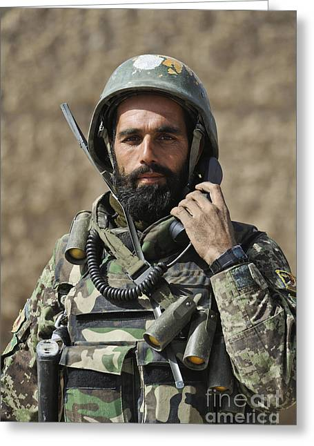 An Afghan Soldier Provides Security Greeting Card