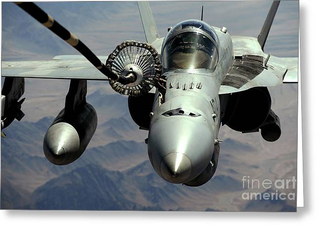 An Fa-18c Hornet Receives Fuel Greeting Card by Stocktrek Images