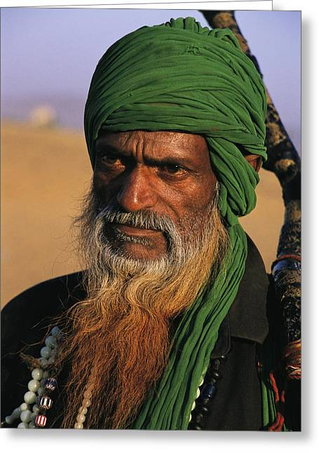 An Informal Portrait Of An Indian Man Greeting Card by Ed George