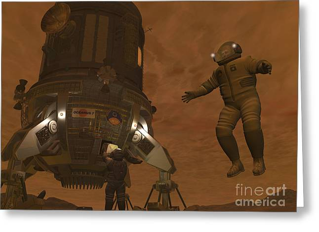 Artists Concept Of Astronauts Exploring Greeting Card by Walter Myers