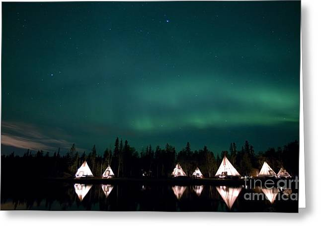 Aurora Above Aurora Village, Aurora Greeting Card