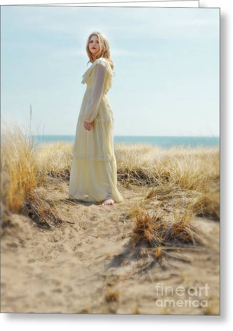 Beautiful Young Woman In Yellow Gown By The Sea Greeting Card