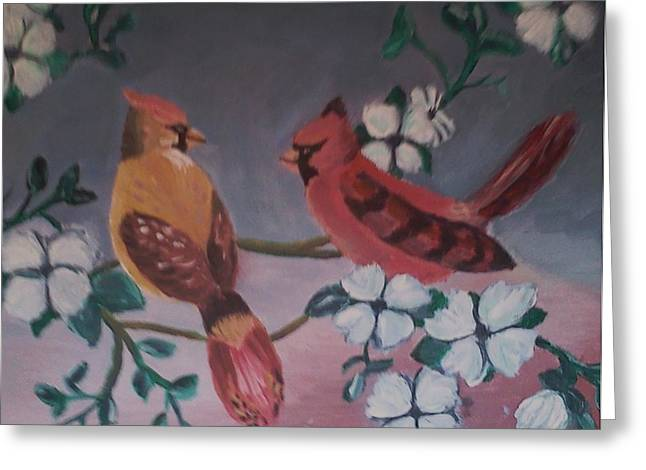 Greeting Card featuring the painting 2 Birds by Christy Saunders Church