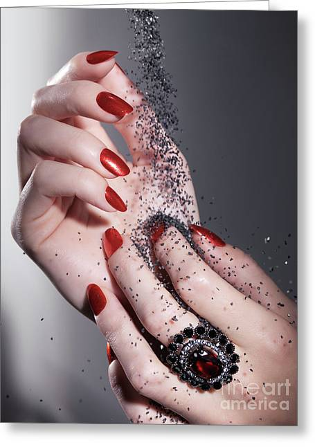 Black Sand Falling On Woman Hands Greeting Card by Oleksiy Maksymenko
