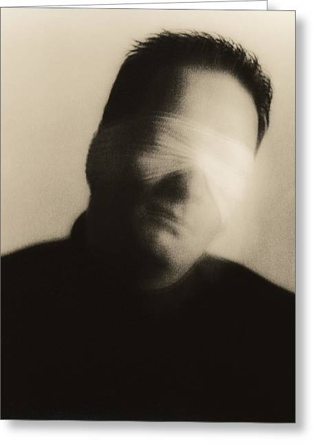 Blindfolded Man Greeting Card by Cristina Pedrazzini