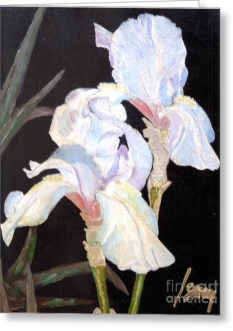 Greeting Card featuring the painting Blue Iris by Rod Ismay