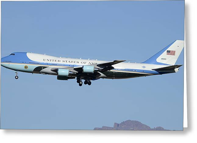 Boeing Vc-25a 82-8000 Air Force One Phoenix-mesa Gateway Airport January 25 2012 Greeting Card by Brian Lockett