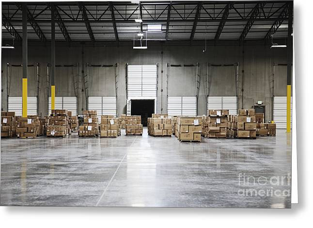 Boxes On Pallets In A Warehouse Greeting Card by Jetta Productions, Inc