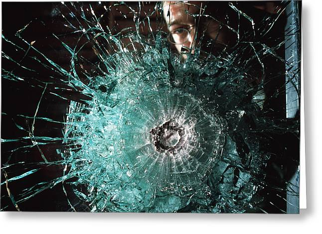 Bulletproof Glass Greeting Card by Volker Steger
