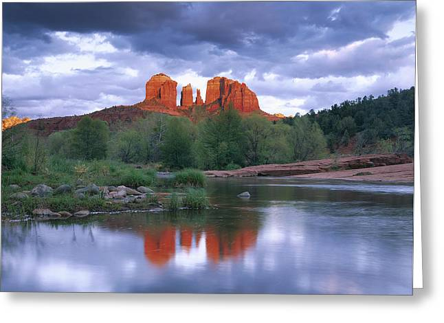 Cathedral Rock Reflected In Oak Creek Greeting Card