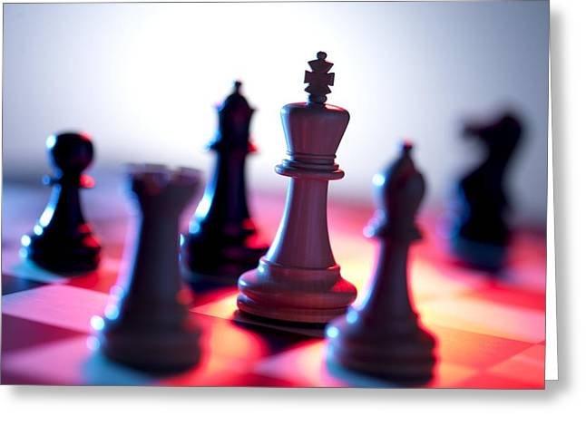 Chess Pieces Greeting Card by Tek Image