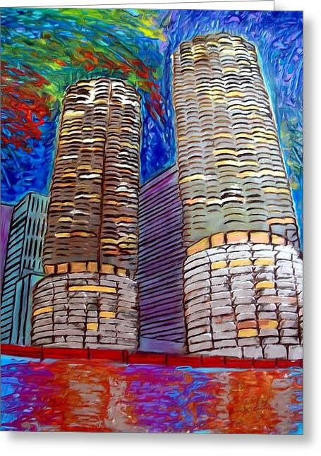 Chicago Marina Towers Greeting Card by Char Swift