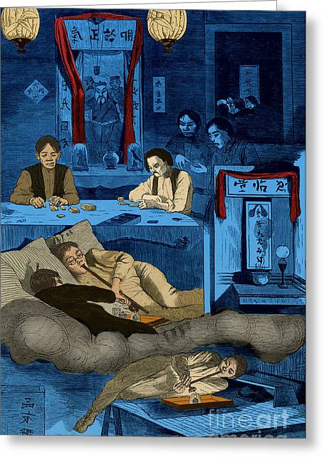 Chinatown Opium Den Greeting Card by Photo Researchers