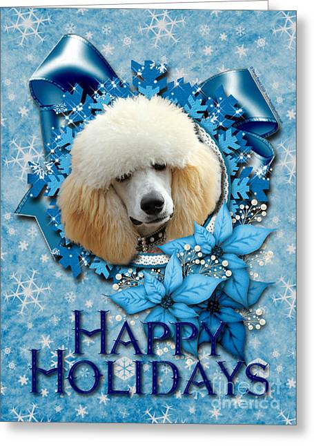 Christmas - Blue Snowflakes Poodle Greeting Card by Renae Laughner