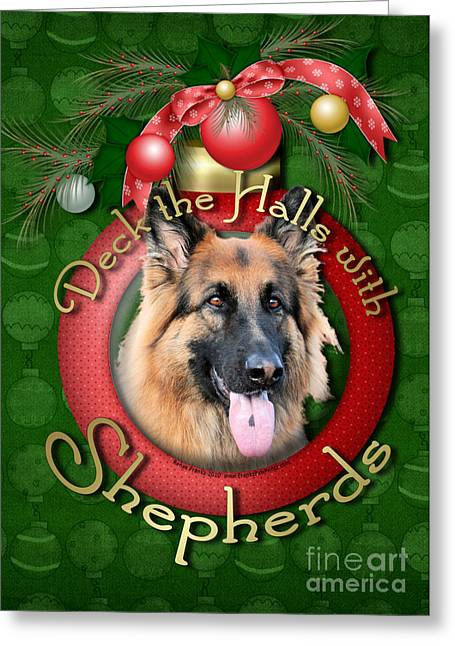 Christmas - Deck The Halls With Shepherds Greeting Card by Renae Laughner
