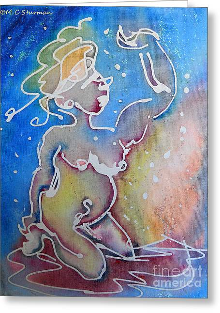Colorful Abstract Nude Greeting Card by M C Sturman
