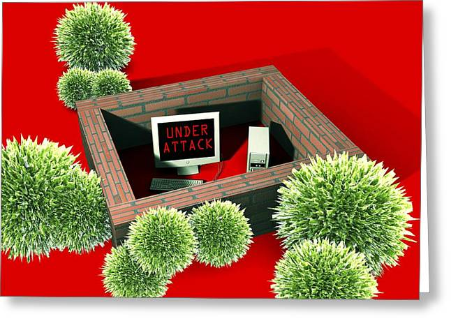 Computer Virus Attack, Computer Artwork Greeting Card by Christian Darkin