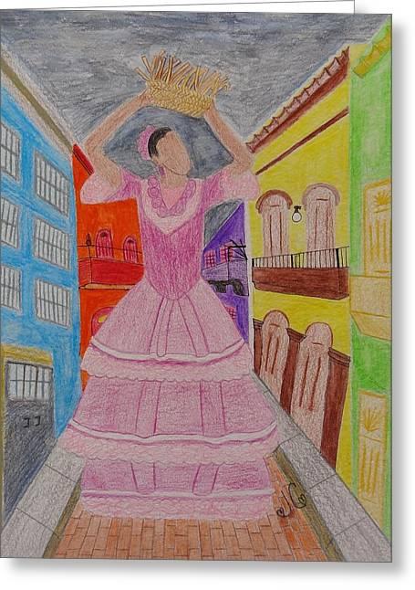 Dancer In Viejo San Juan Greeting Card by Jessica Cruz