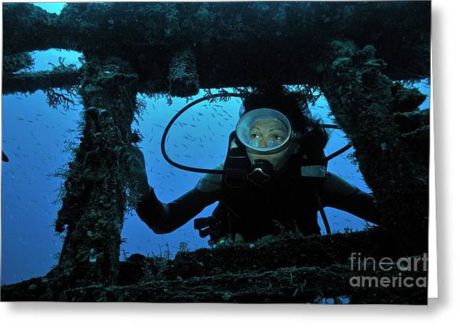 Diver Exploring Shipwreck Greeting Card by Sami Sarkis