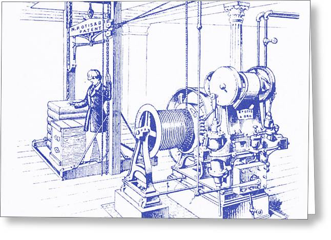 Double Oscillating Steam Engine Greeting Card by Science Source