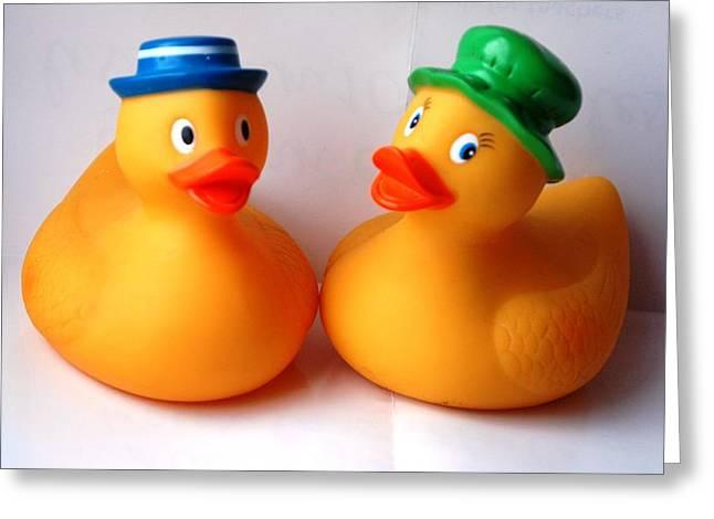 2 Ducks Greeting Card by Juan  Cruz