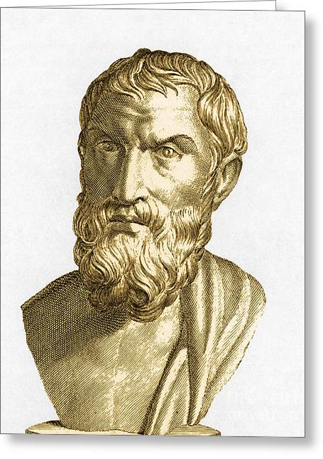 Epicurus, Greek Philosopher Greeting Card by Photo Researchers