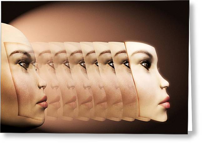 Face Transplant Greeting Card by Victor Habbick Visions