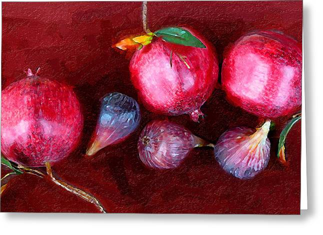 Figs And Pomegranates Greeting Card by Ron Regalado