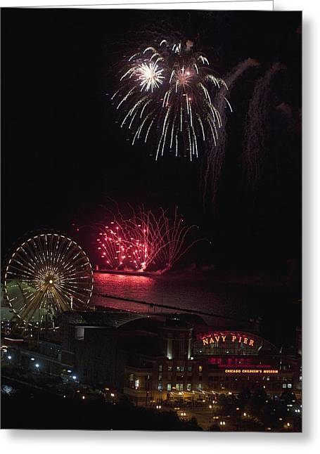 Fireworks, Chicago, Illinois, Usa Greeting Card by Keith Levit