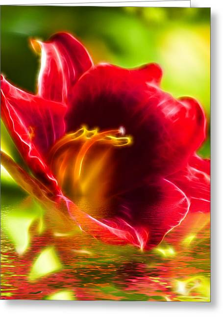 Floral Fractals And Floods Digital Art Greeting Card by David French