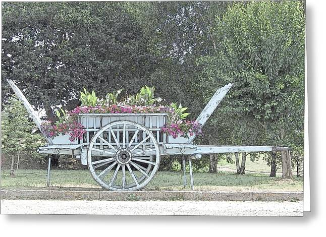 Flower Cart Normandy France Greeting Card by Joseph Hendrix