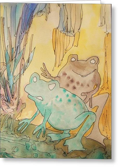 2 Frogs Greeting Card by James Christiansen