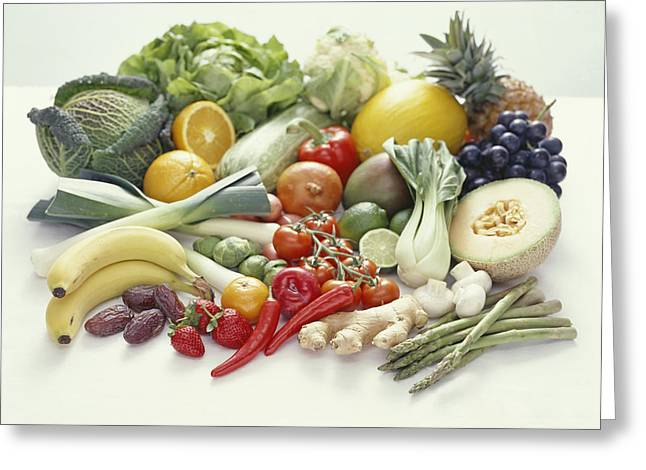 Fruits And Vegetables Greeting Card by David Munns