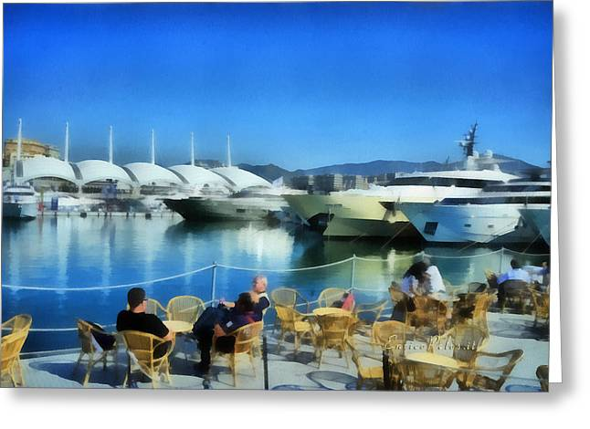 Greeting Card featuring the painting Genova Salone Nautico Internazionale - Genoa Boat Show by Enrico Pelos