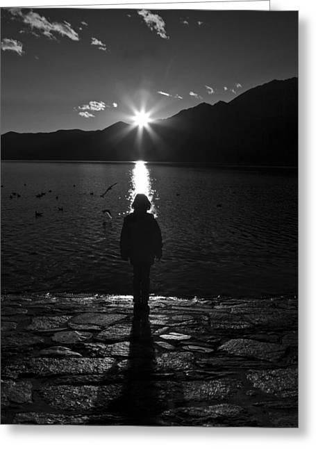 Girl With Sunset Greeting Card by Joana Kruse
