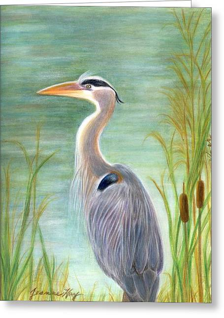 Great Blue Heron Watches By Pond Greeting Card