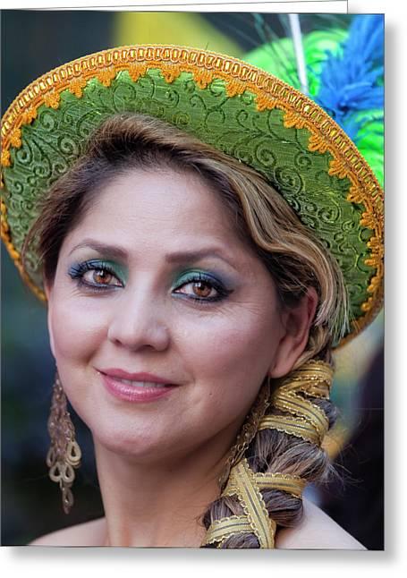 Hispanic Columbus Day Parade Nyc 11 9 11 Female Marcher Greeting Card by Robert Ullmann