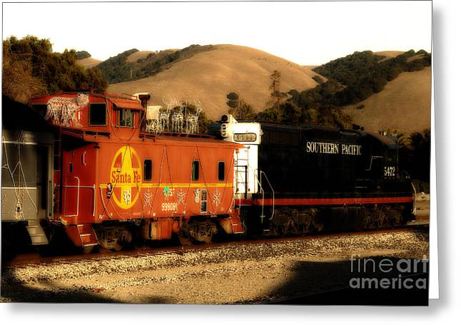 Historic Niles Trains In California . Old Southern Pacific Locomotive And Sante Fe Caboose . 7d10843 Greeting Card by Wingsdomain Art and Photography