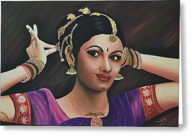 Indian Dancer Greeting Card by Usha Rai