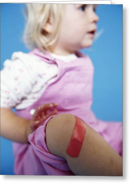 Injured Baby Girl Greeting Card by Ian Boddy